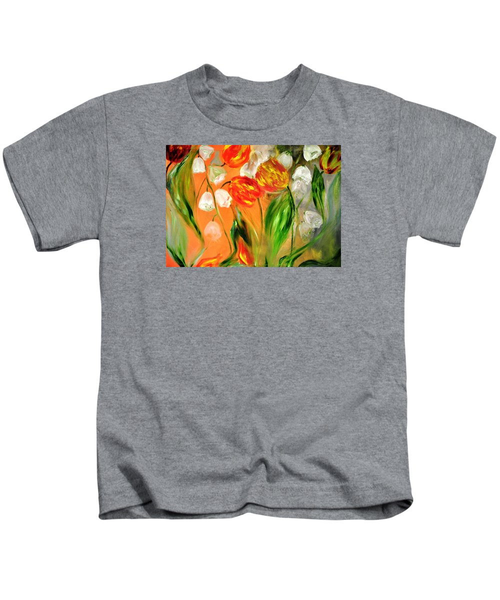 Flowers Kids T-Shirt featuring the painting Spring Mood by Evelina Popilian