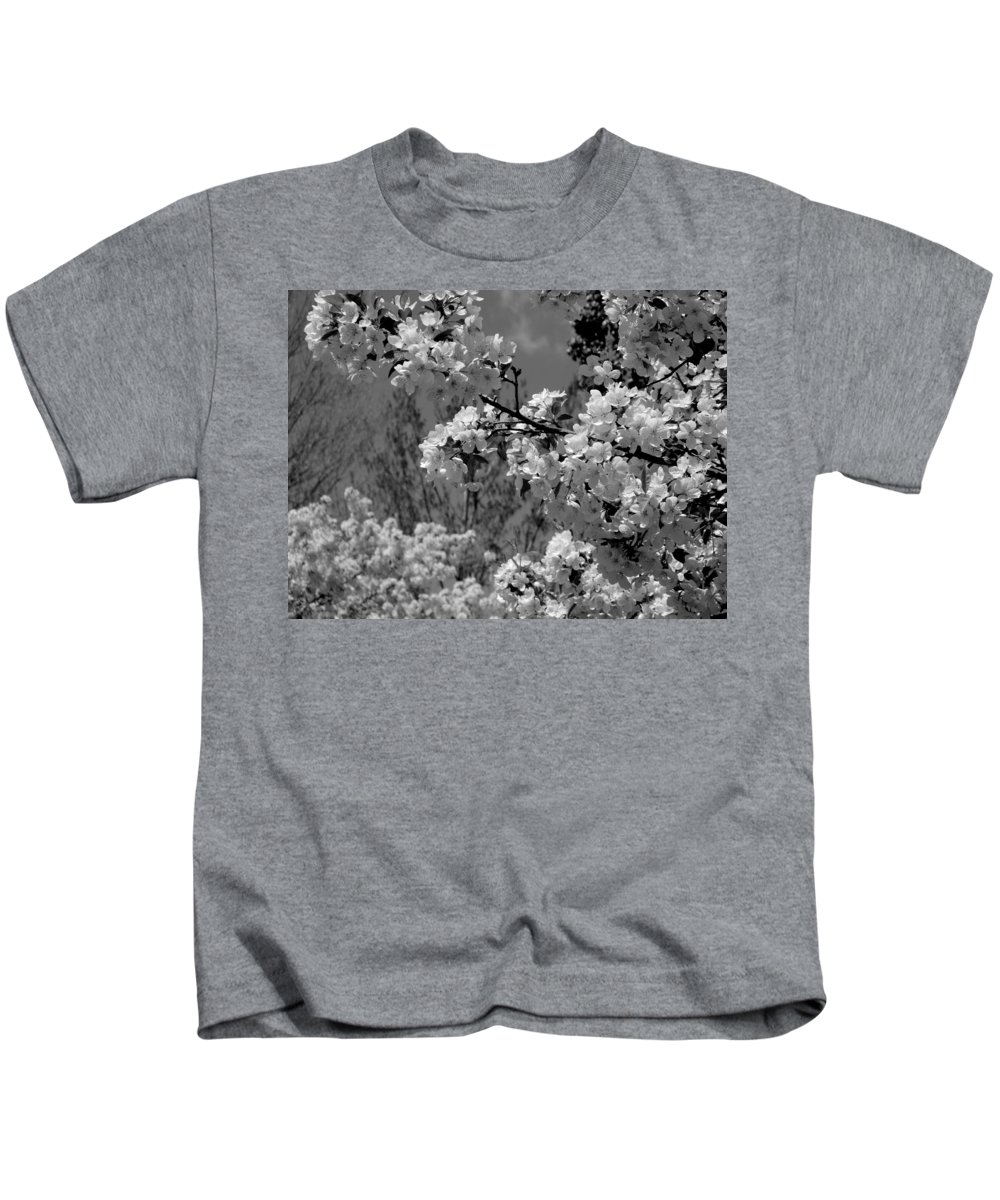 Trees Kids T-Shirt featuring the photograph Spring Trees - B And W by Arlane Crump