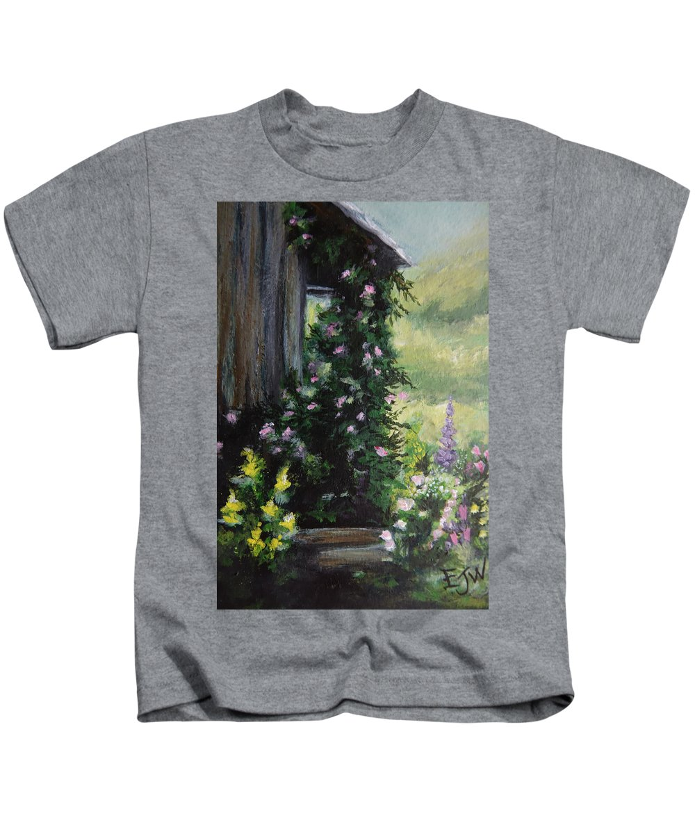 Flower Painting Kids T-Shirt featuring the painting Springtime At The Cabin by Elizabeth Waitinas