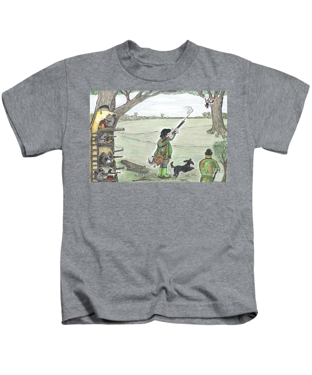 Squirrel Kids T-Shirt featuring the painting Squirrel Gun Club by Steve Royce Griffin