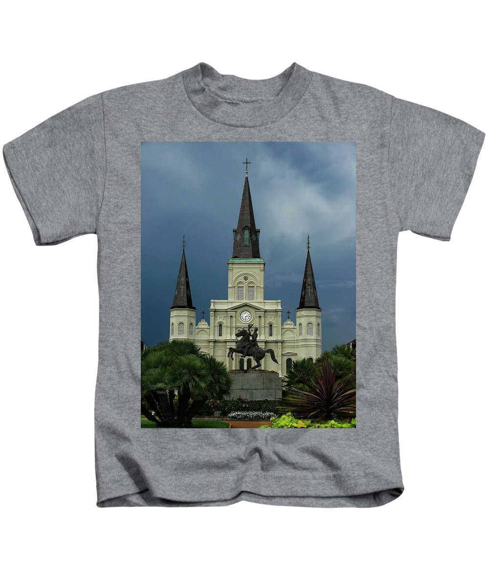french Quarter Kids T-Shirt featuring the photograph St Louis Cathedral In Jackson Square by Dave Sribnik
