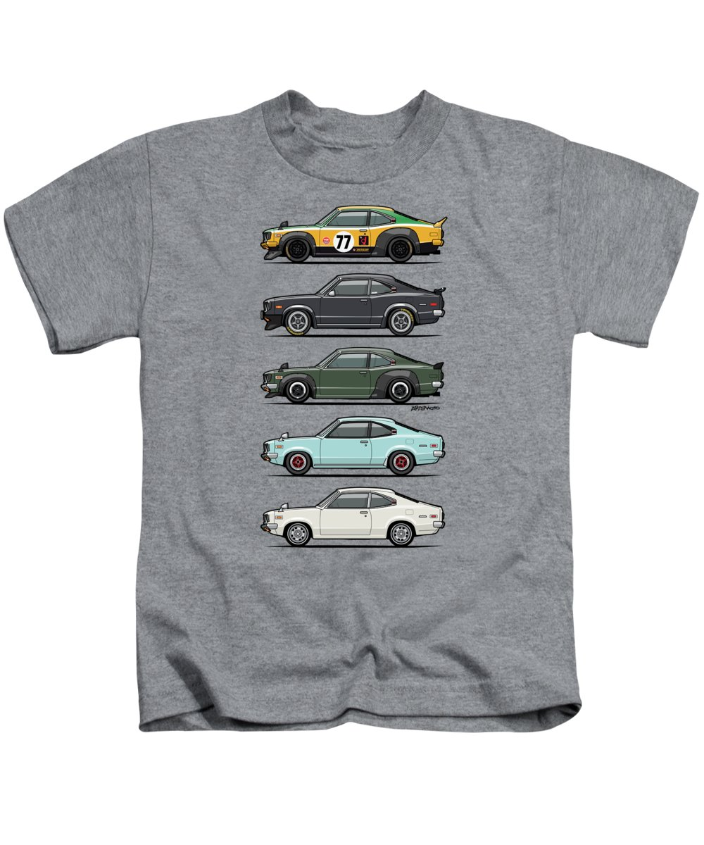 Car Kids T-Shirt featuring the digital art Stack Of Mazda Savanna Gt Rx-3 Coupes by Monkey Crisis On Mars