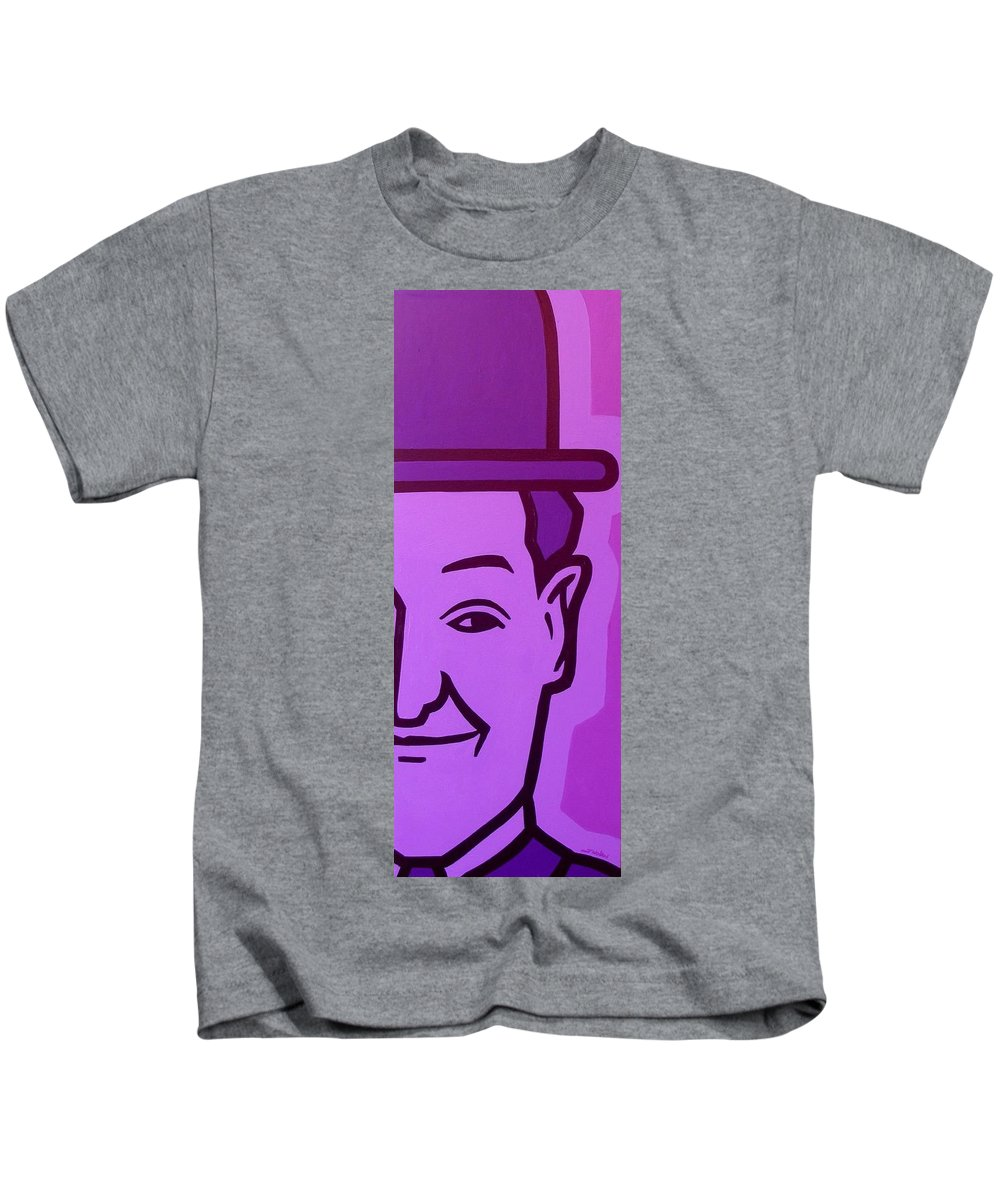 Oliver Hardy Kids T-Shirt featuring the painting Stan Laurel by John Nolan