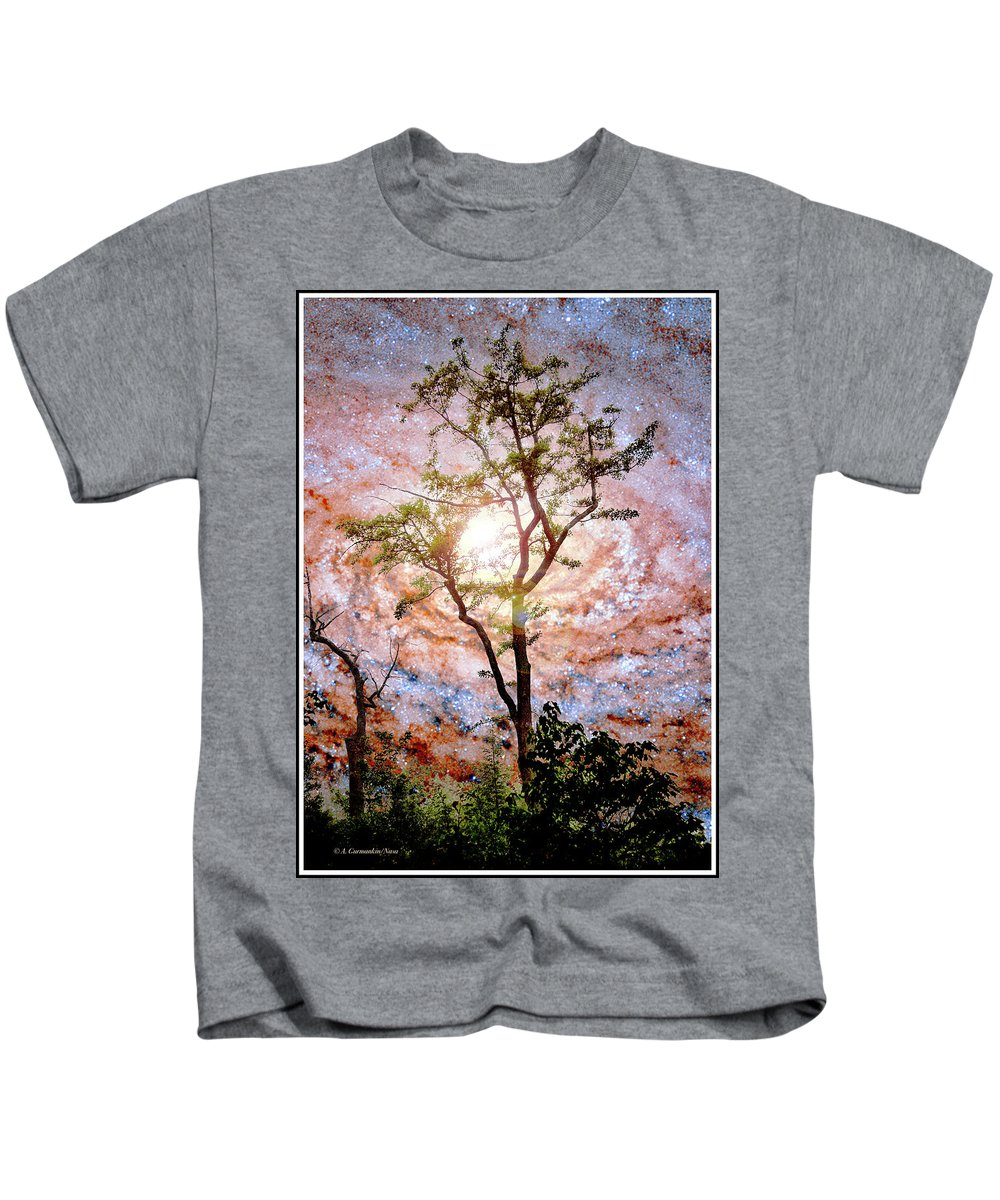 Starry Night Kids T-Shirt featuring the photograph Starry Night Fantasy, Tree Silhouette by A Gurmankin NASA