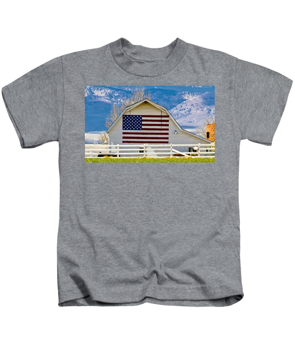 Barn Kids T-Shirt featuring the photograph Stars Stripes And Barns by Marilyn Hunt