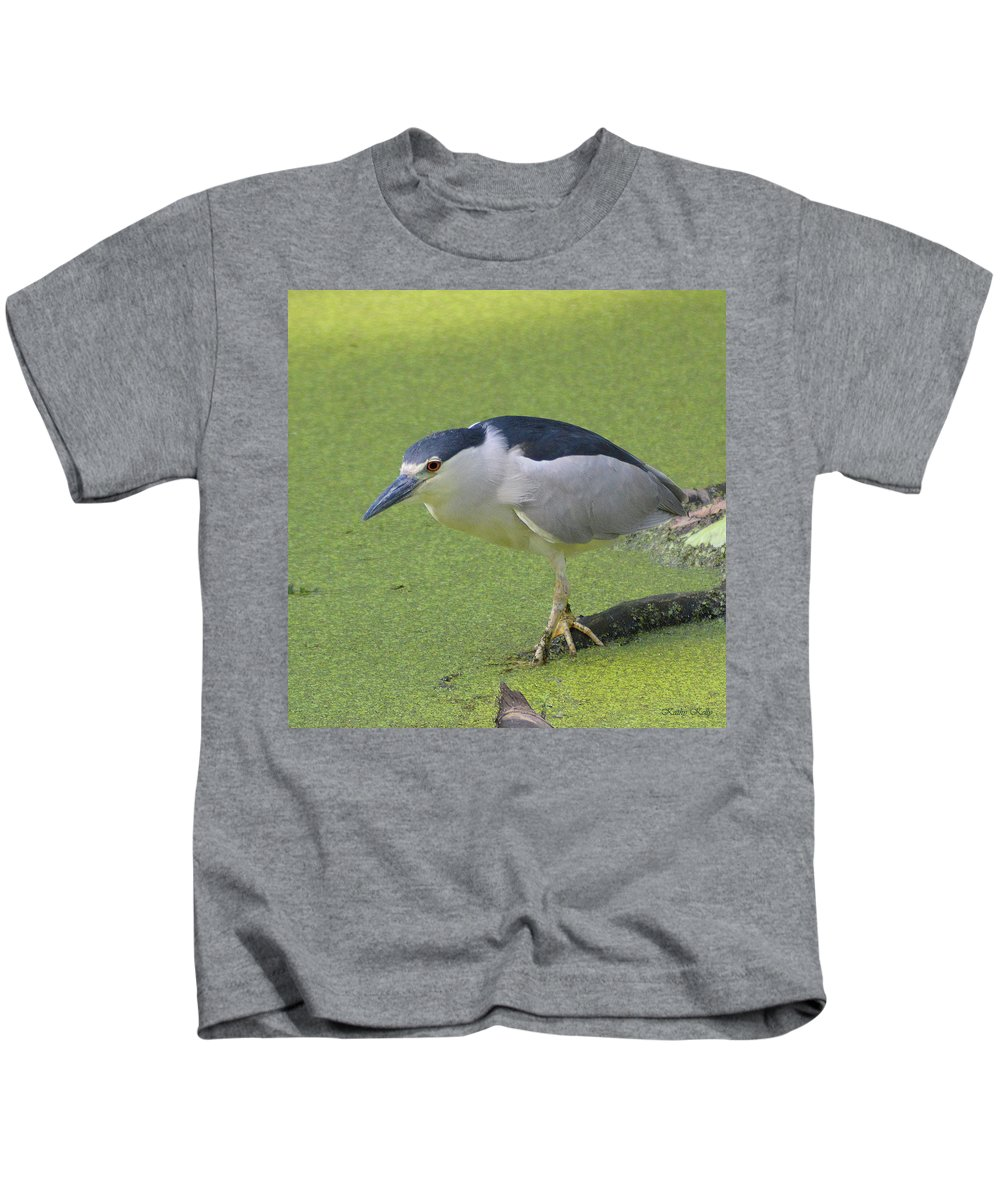 Black Crowned Night Heron Kids T-Shirt featuring the photograph Step Lightly by Kathy Kelly