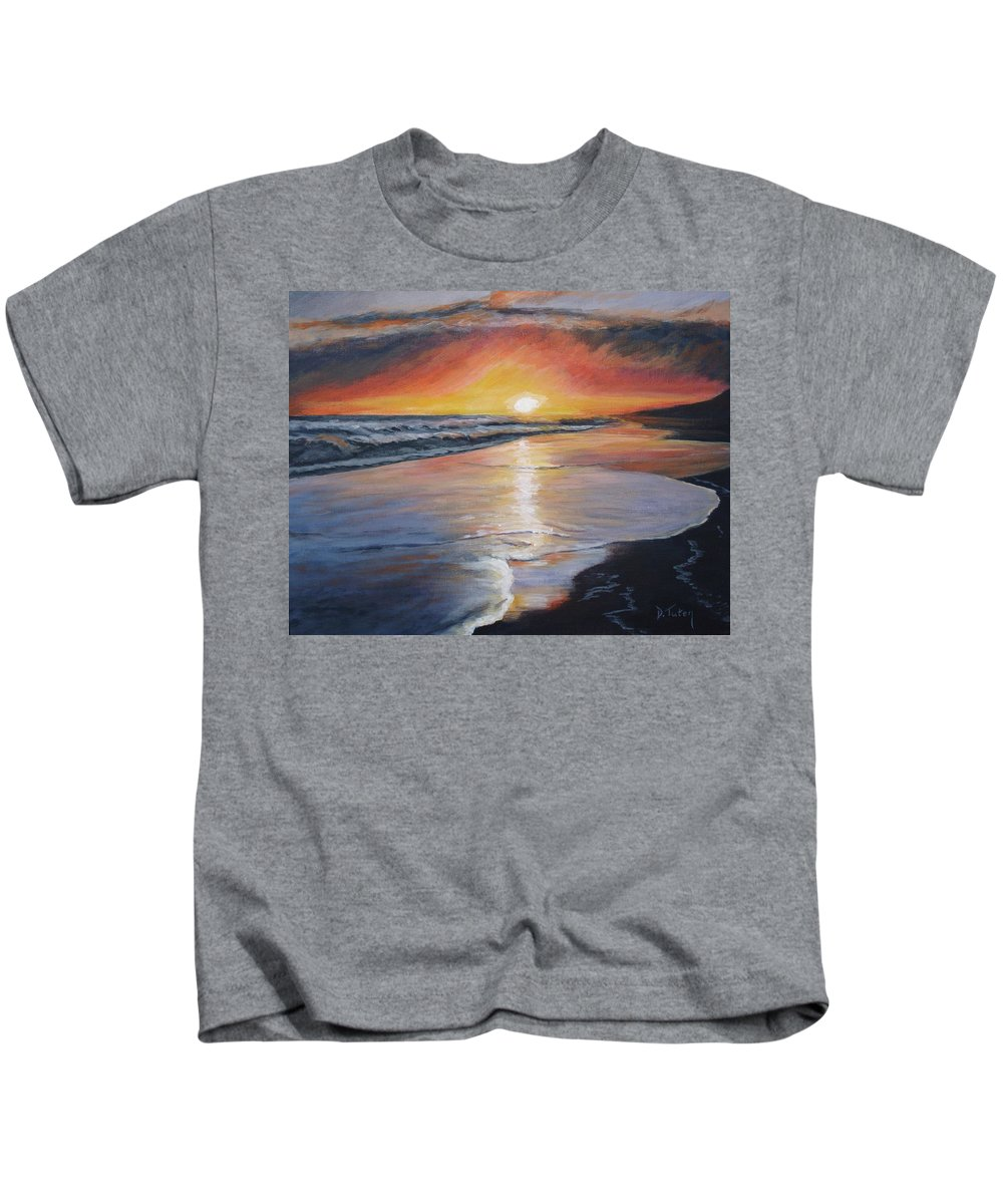 Beach Kids T-Shirt featuring the painting Stephanie's Sunset by Donna Tuten