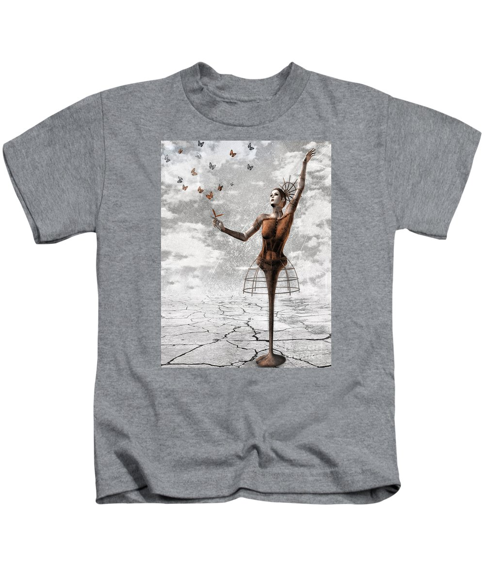 Surreal Kids T-Shirt featuring the painting Still Believe by Jacky Gerritsen