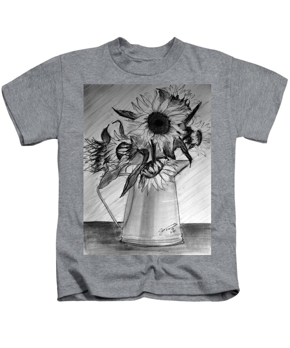 Still Life Kids T-Shirt featuring the drawing Still Life - 6 Sunflowers In A Jug by Jose A Gonzalez Jr