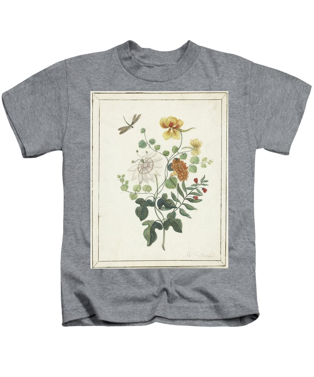 Still Life Of Flowers Kids T-Shirt featuring the painting Still Life Of Flowers, Machtelt Moninckx, C. 1600 - C. 1687 by MotionAge Designs