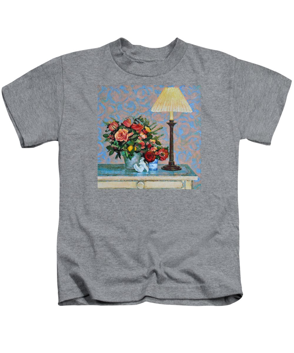 Flowers Kids T-Shirt featuring the painting Still Life With A Lamp by Iliyan Bozhanov