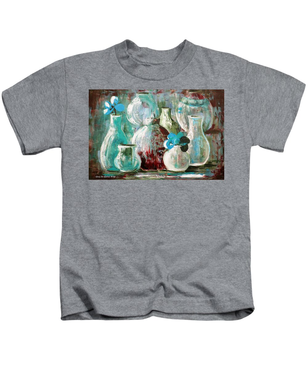 Still Life Kids T-Shirt featuring the painting Still Life With Blue Flowers 2 by Gina De Gorna