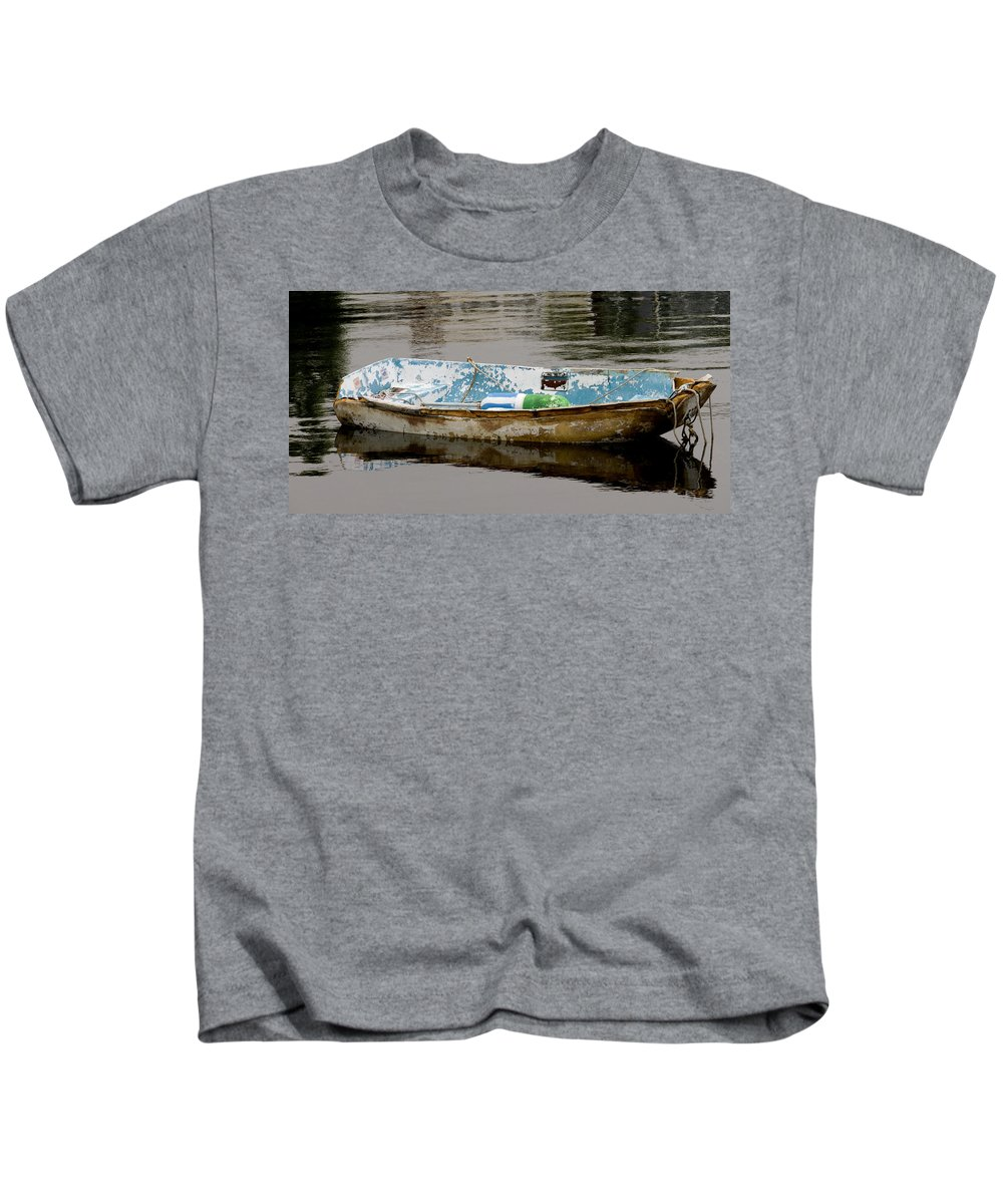 New England Boats Nancie's Photography Kids T-Shirt featuring the photograph Still Waters by Nancie DeMellia