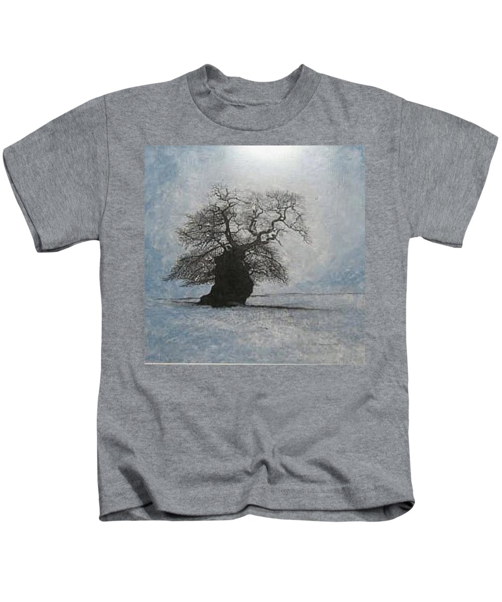 Silhouette Kids T-Shirt featuring the painting Stilton Silhouette by Leah Tomaino