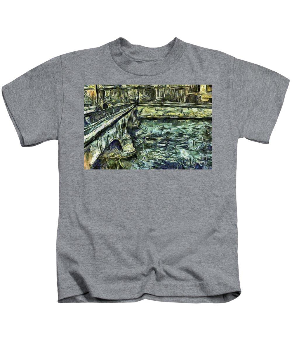 Stockholm Waterfront Sureal Kids T-Shirt featuring the mixed media Stockholm Waterfront by Yury Bashkin