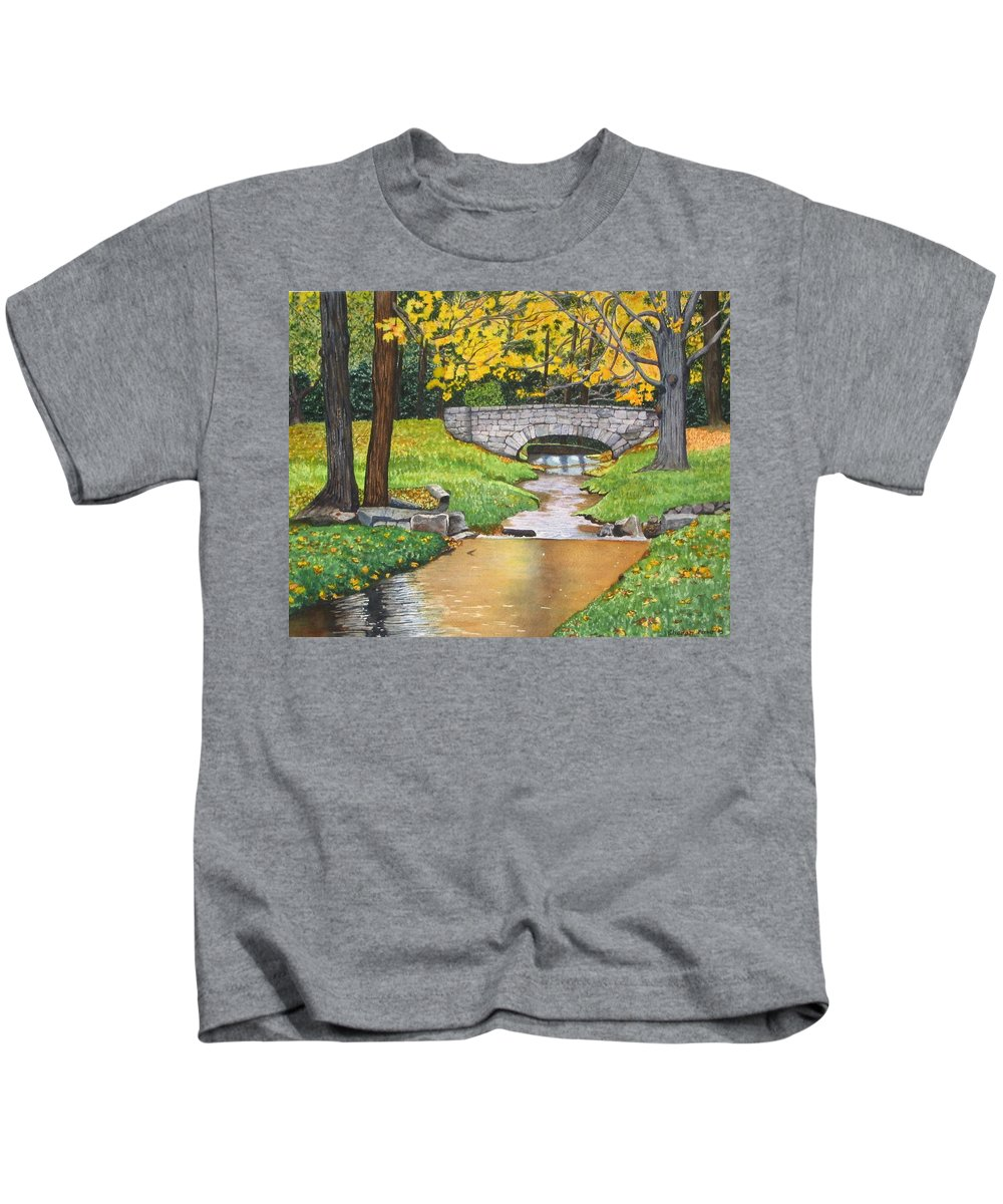 Landscape Kids T-Shirt featuring the painting Stone Bridge by Sharon Farber