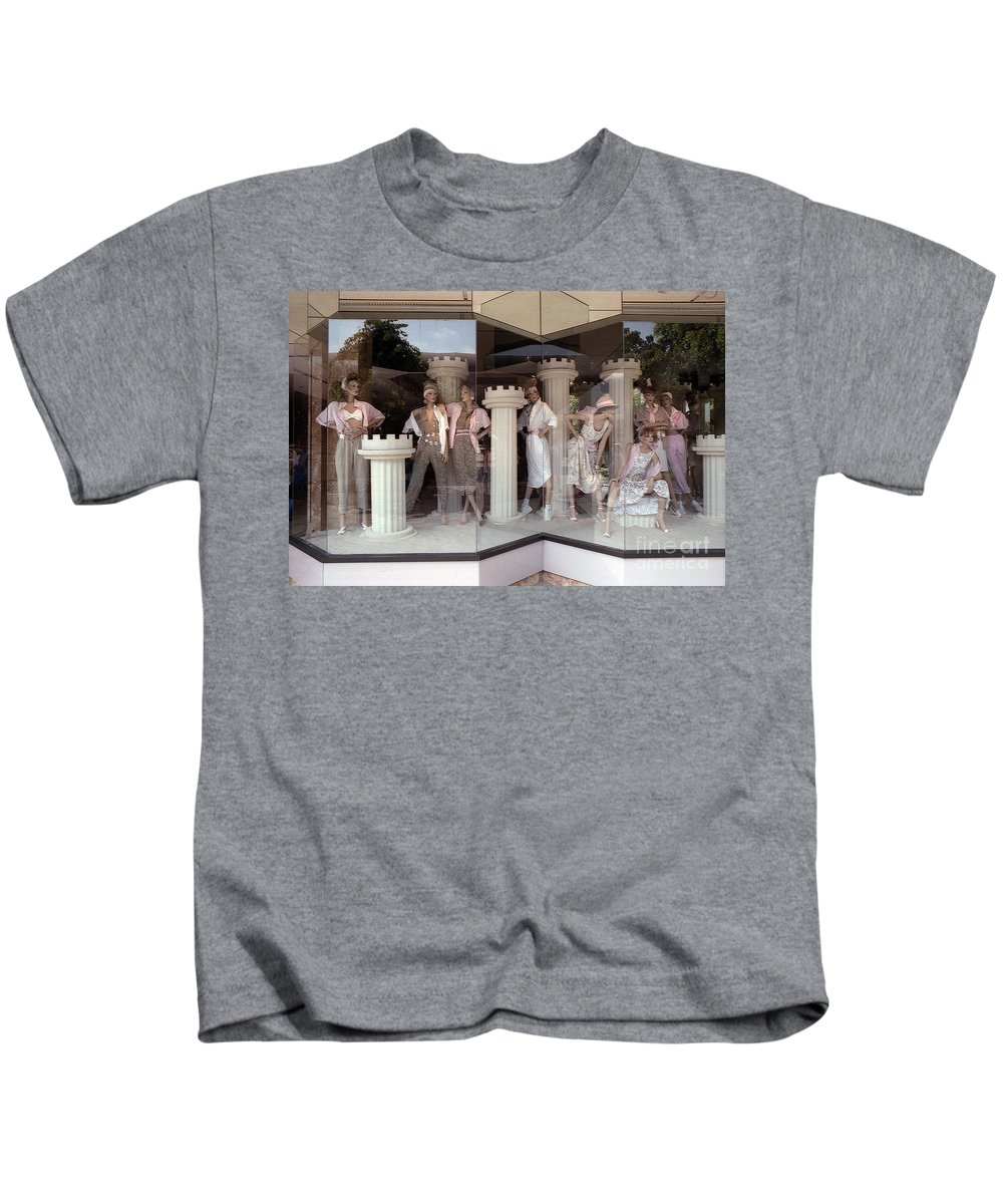 Style Kids T-Shirt featuring the photograph Storefront Window 1982 by Alan Thwaites
