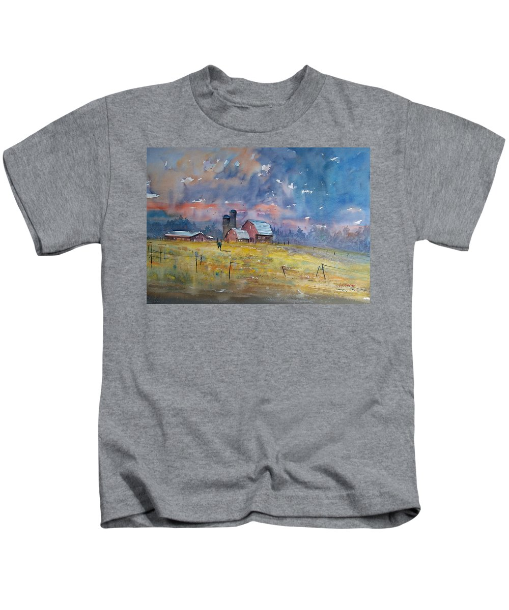 Watercolor Kids T-Shirt featuring the painting Storm Brewing by Ryan Radke