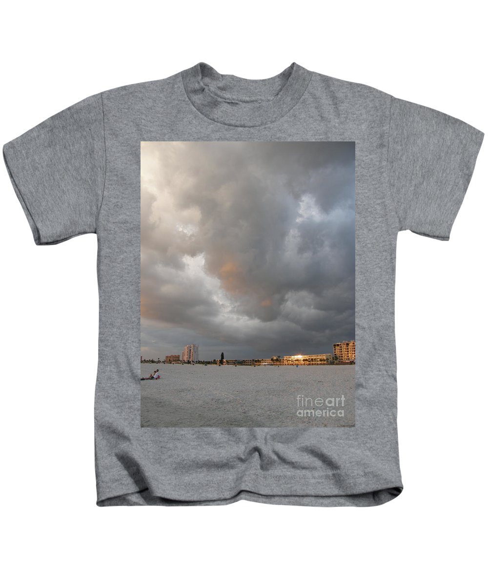 Storm Kids T-Shirt featuring the photograph Storm Clouds On The Beach by Alice Markham