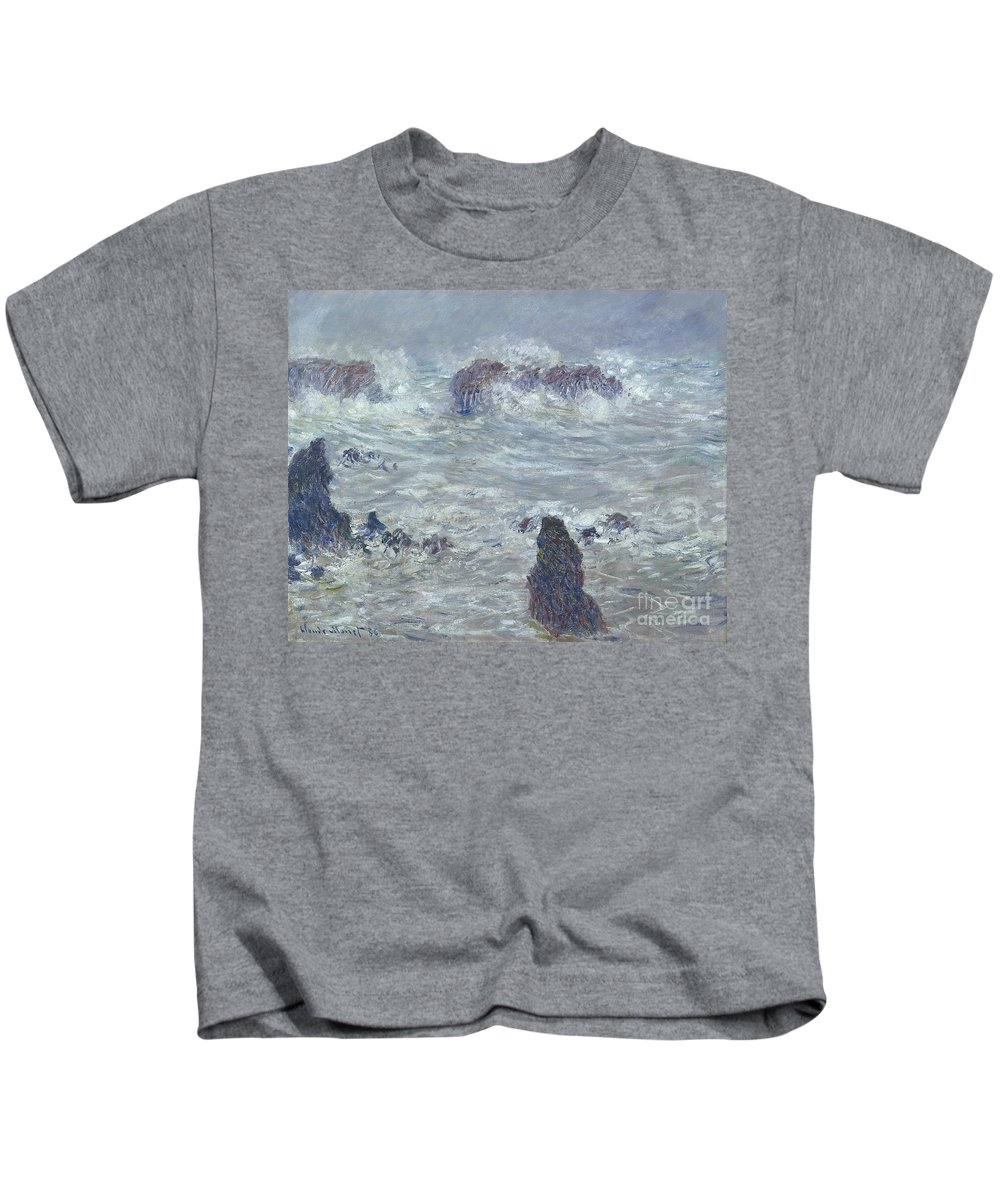 Storm Kids T-Shirt featuring the painting Storm Off The Coast Of Belle Ile by Claude Monet