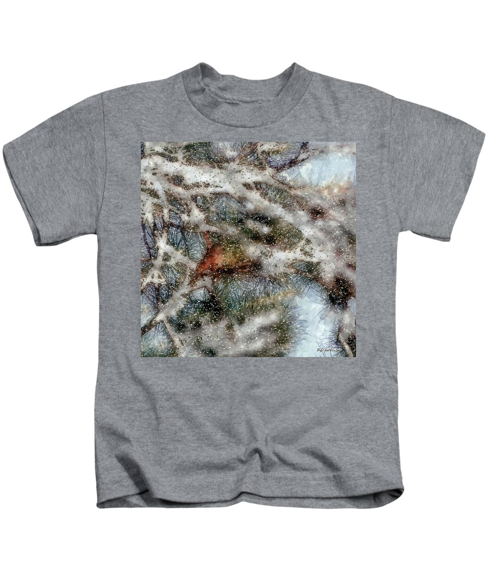 Bird Kids T-Shirt featuring the painting Storm Shelter by RC DeWinter