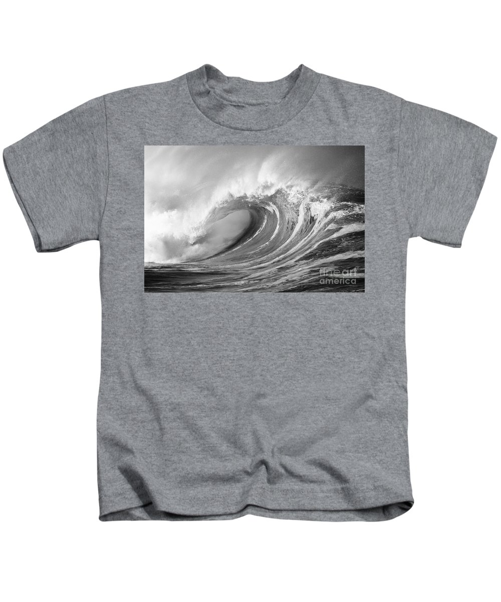Art Medium Kids T-Shirt featuring the photograph Storm Wave - Bw by Ron Dahlquist - Printscapes