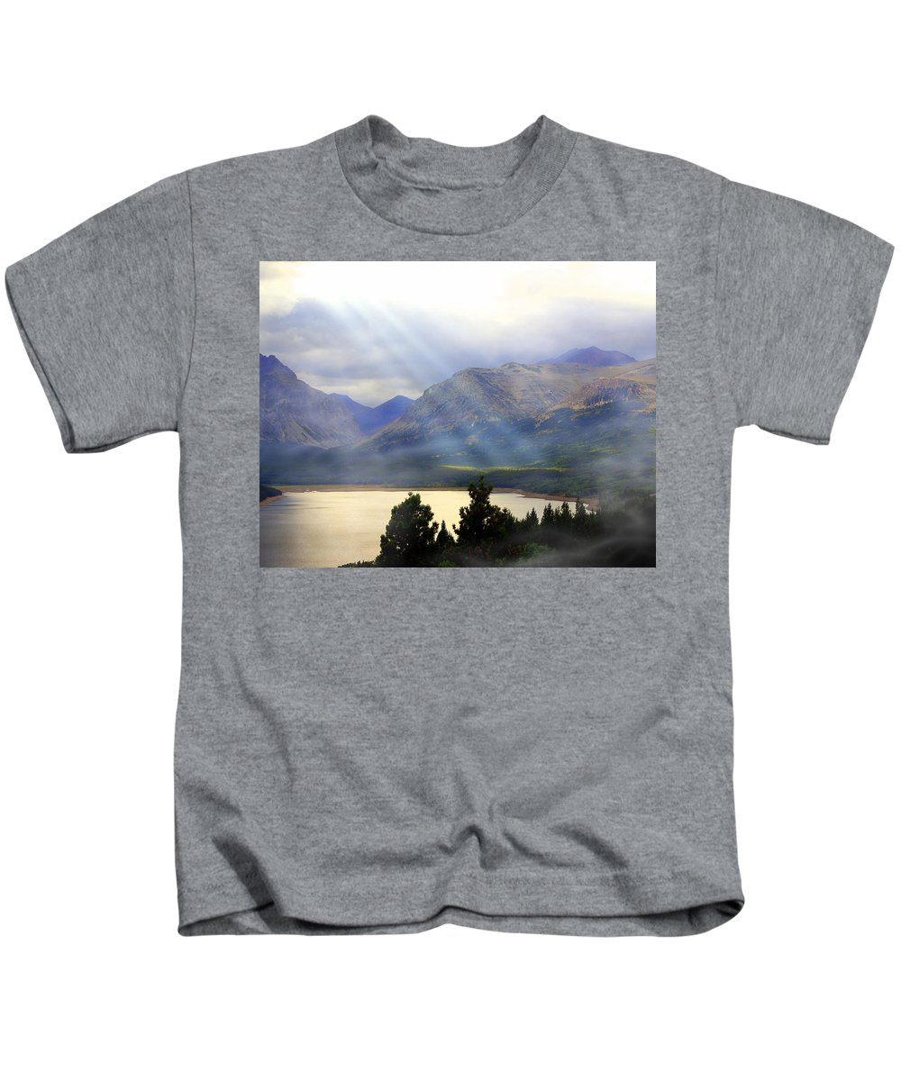 Glacier National Park Kids T-Shirt featuring the photograph Storms A Coming-lower Two Medicine Lake by Marty Koch