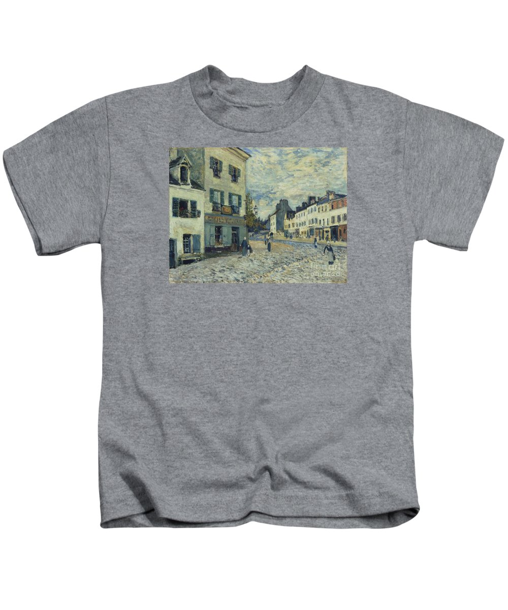 Street In Marly Kids T-Shirt featuring the painting Street In Marly by MotionAge Designs