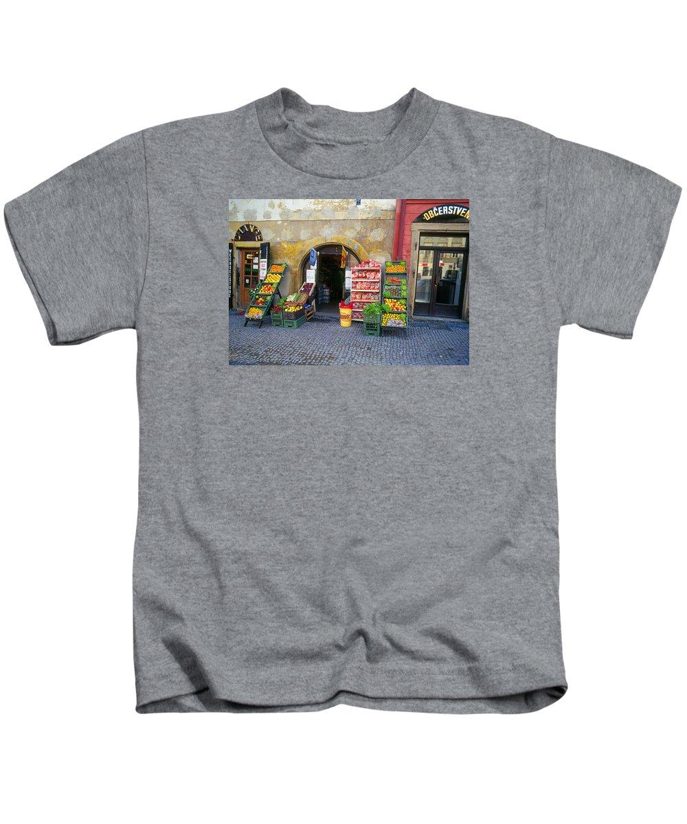 Czech Kids T-Shirt featuring the photograph Street Market, Prague by Buddy Mays