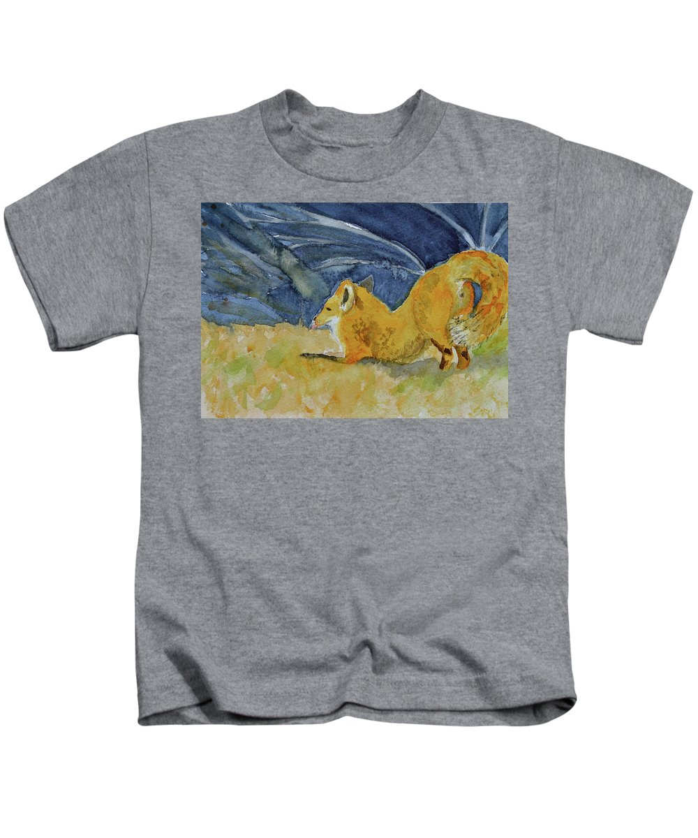 Fox Kids T-Shirt featuring the painting Stretch by Beverley Harper Tinsley