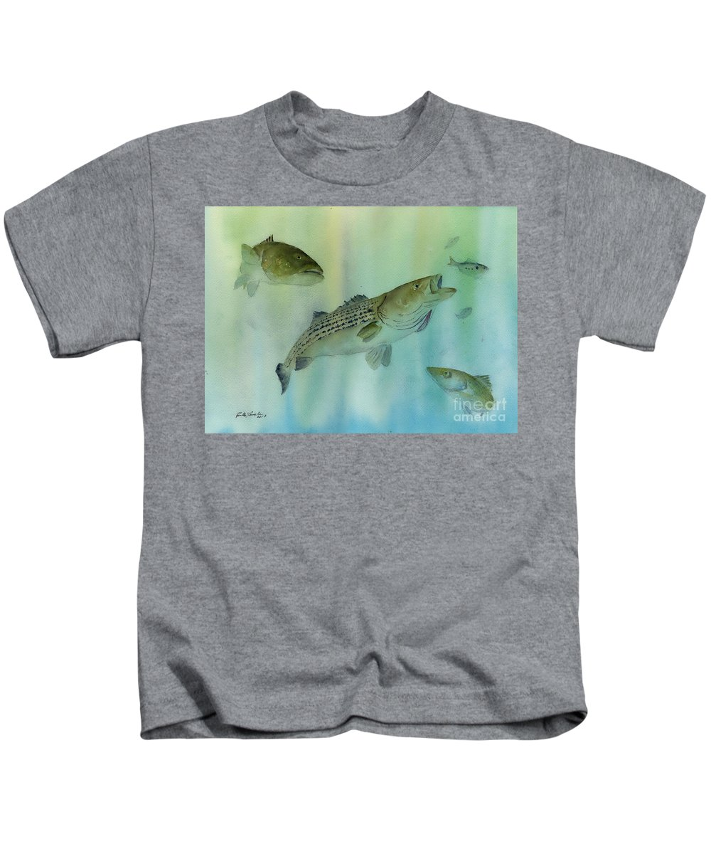Striped Bass Kids T-Shirt featuring the painting Striped Bass On The Feed by Paul Temple