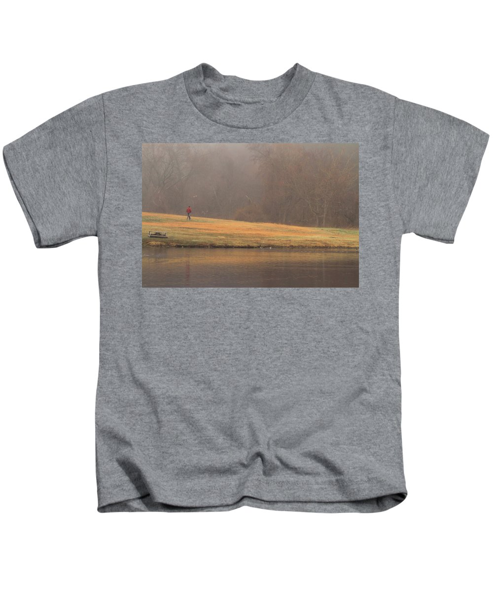 Fog Kids T-Shirt featuring the photograph Strolling Thru The Park by Karol Livote