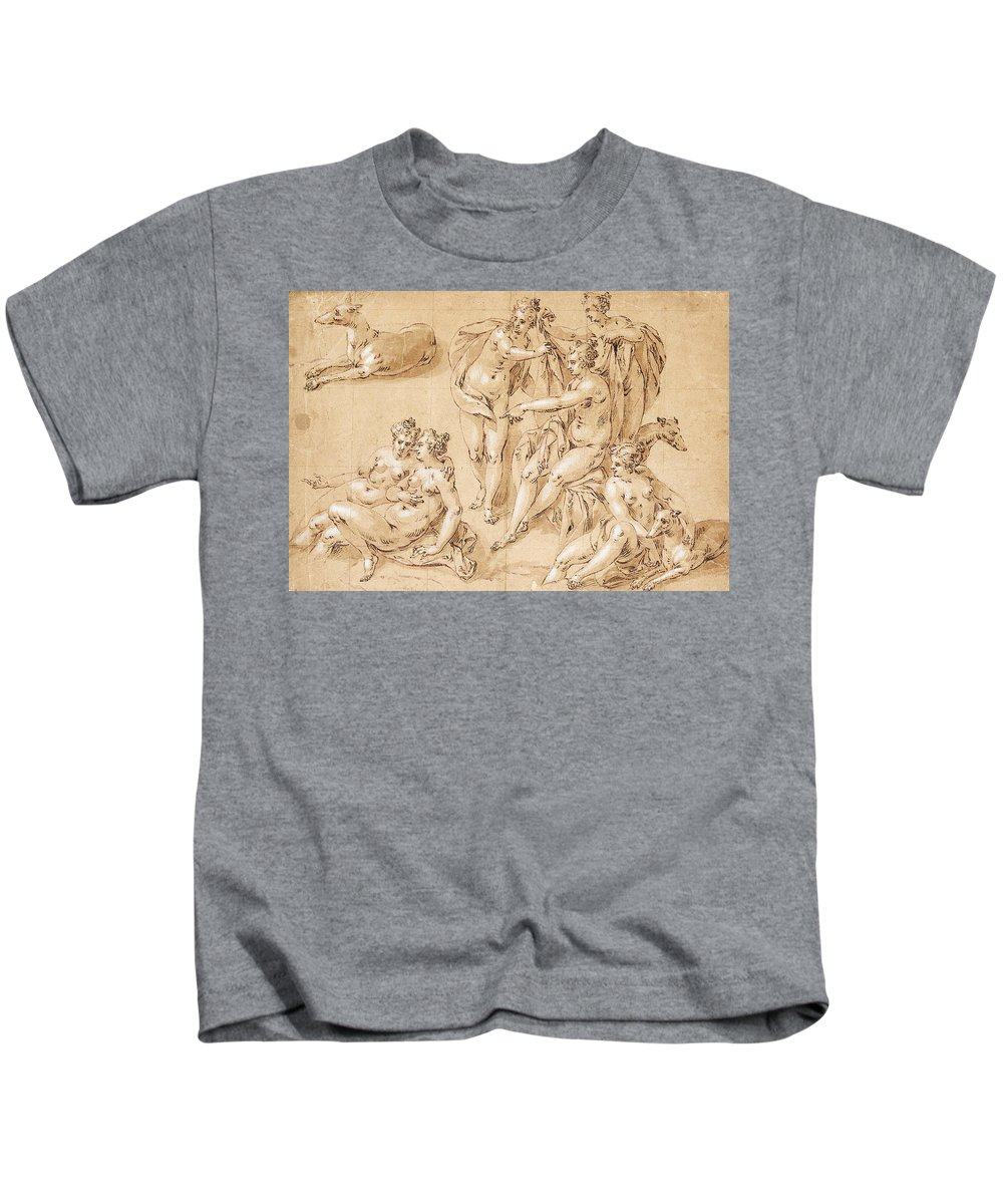 Hendrick De Clerck Kids T-Shirt featuring the drawing Study Of Diana With Her Nymphs And Hounds by Hendrick de Clerck