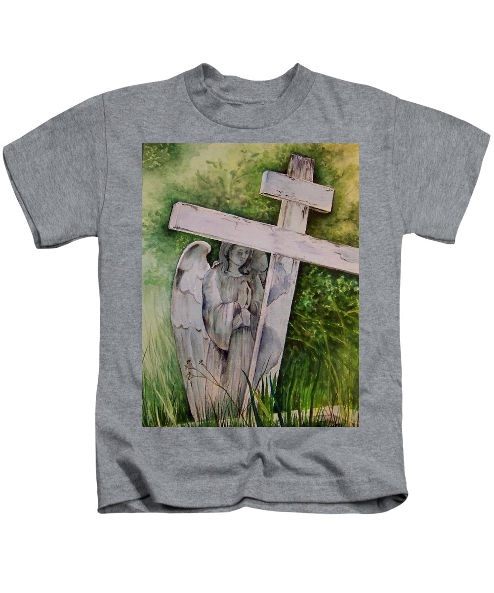 Watercolor Kids T-Shirt featuring the painting Sublime Watcher by Brenda Owen