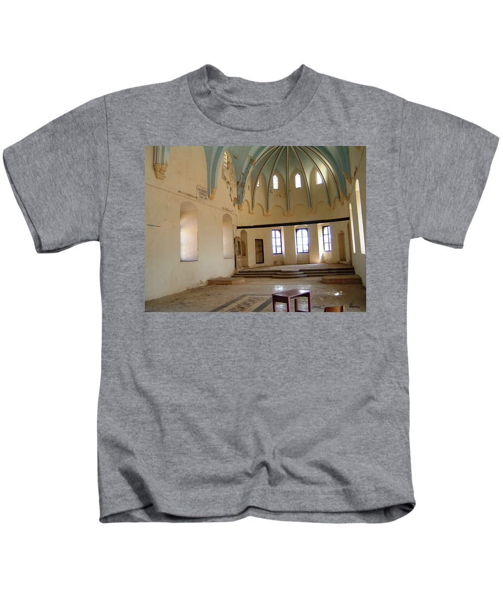 Ruins Turkey Turkish Temple Abandoned Church Pillars Vaulted Ceiling Old Kids T-Shirt featuring the photograph Such A Waste by Andrea Lawrence