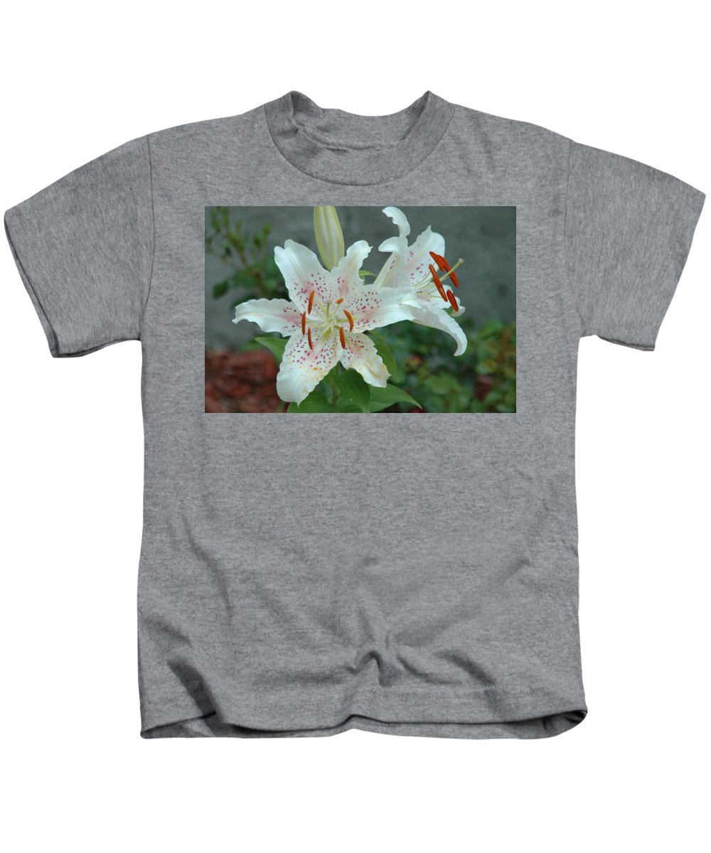 Florwers Kids T-Shirt featuring the photograph White Tiger Lilies by Nella Marie