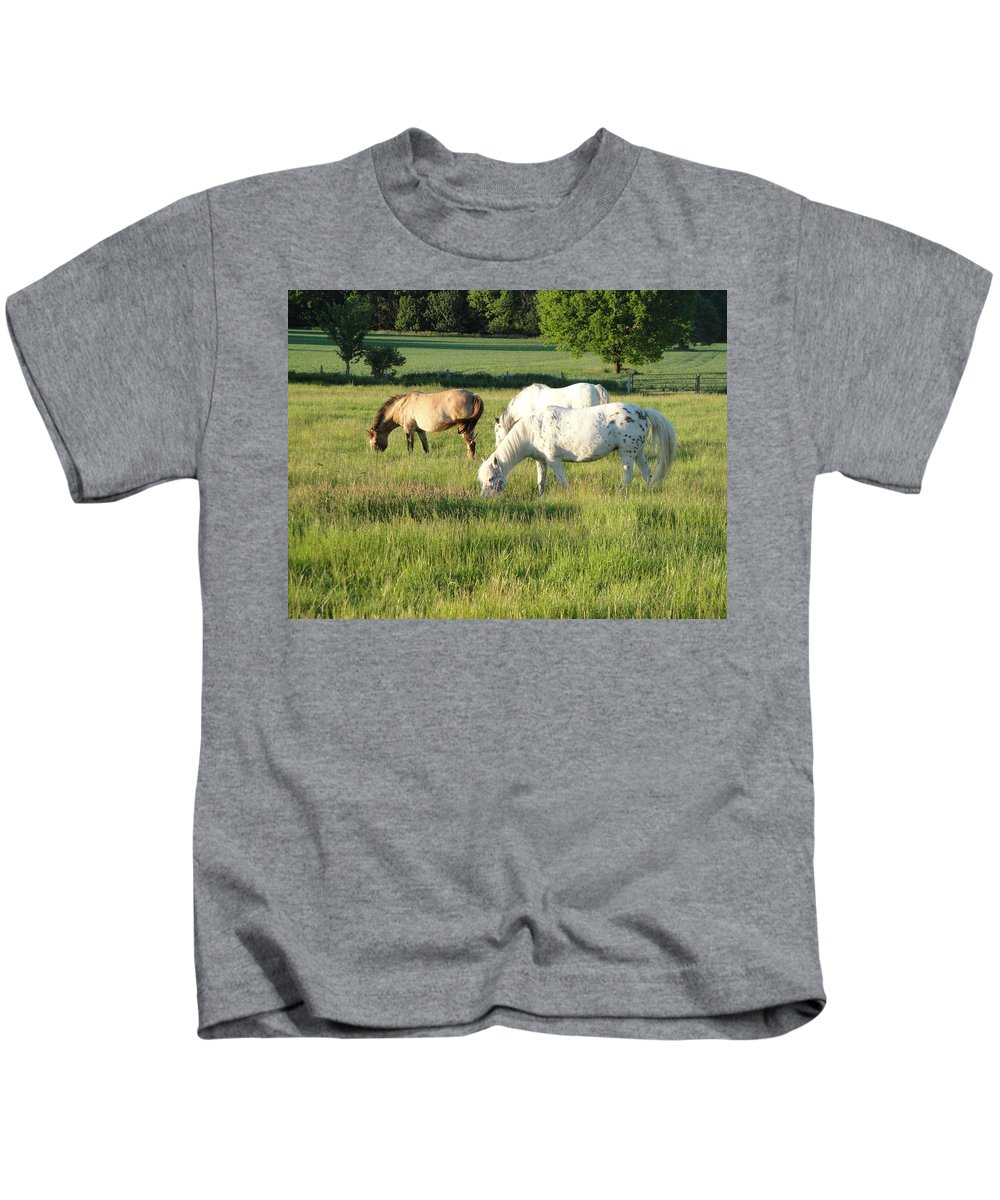 Pony Kids T-Shirt featuring the photograph Summer Grazing by Susan Baker