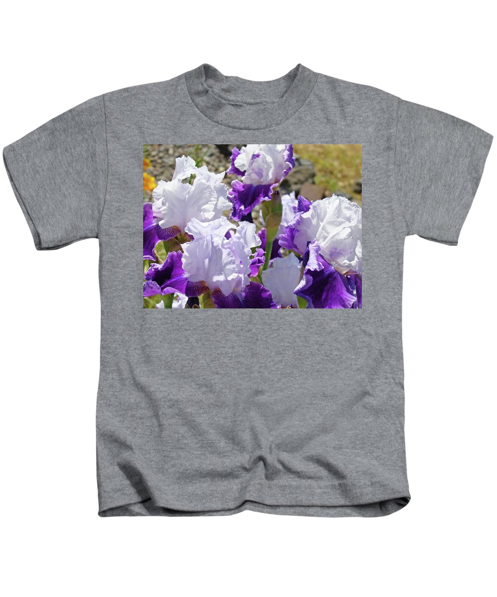 Iris Kids T-Shirt featuring the photograph Summer Iris Garden Art Print White Purple Irises Flowers Baslee Troutman by Baslee Troutman