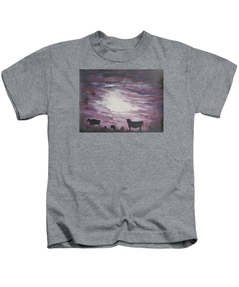 Summer Night Kids T-Shirt featuring the painting Summer Night by Irina Astley