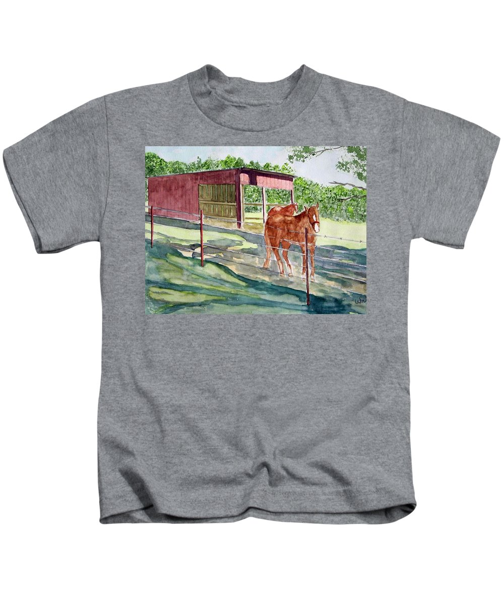 Horse Art Kids T-Shirt featuring the painting Summer Shade by Larry Wright