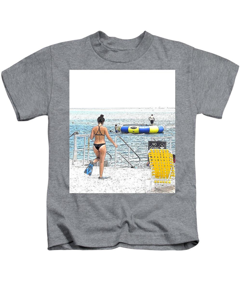 Bikini Kids T-Shirt featuring the mixed media Summer Time by Jason Pepe