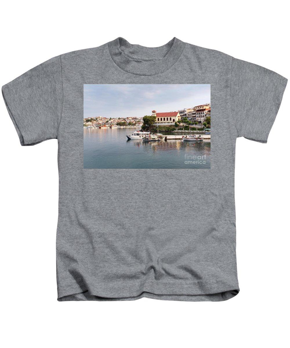 Neos Marmaras Kids T-Shirt featuring the photograph summer vacation scene Neos Marmaras Greece by Goce Risteski