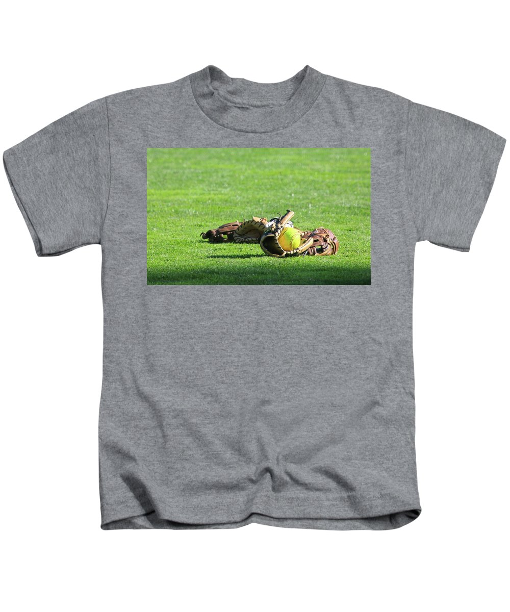 Softball Kids T-Shirt featuring the photograph Sun Bathing by Laddie Halupa