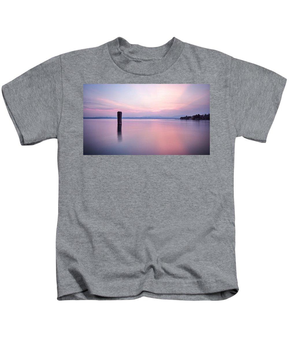 Slow Shutter Kids T-Shirt featuring the photograph Sun Down Over Garda by Joe Taylor