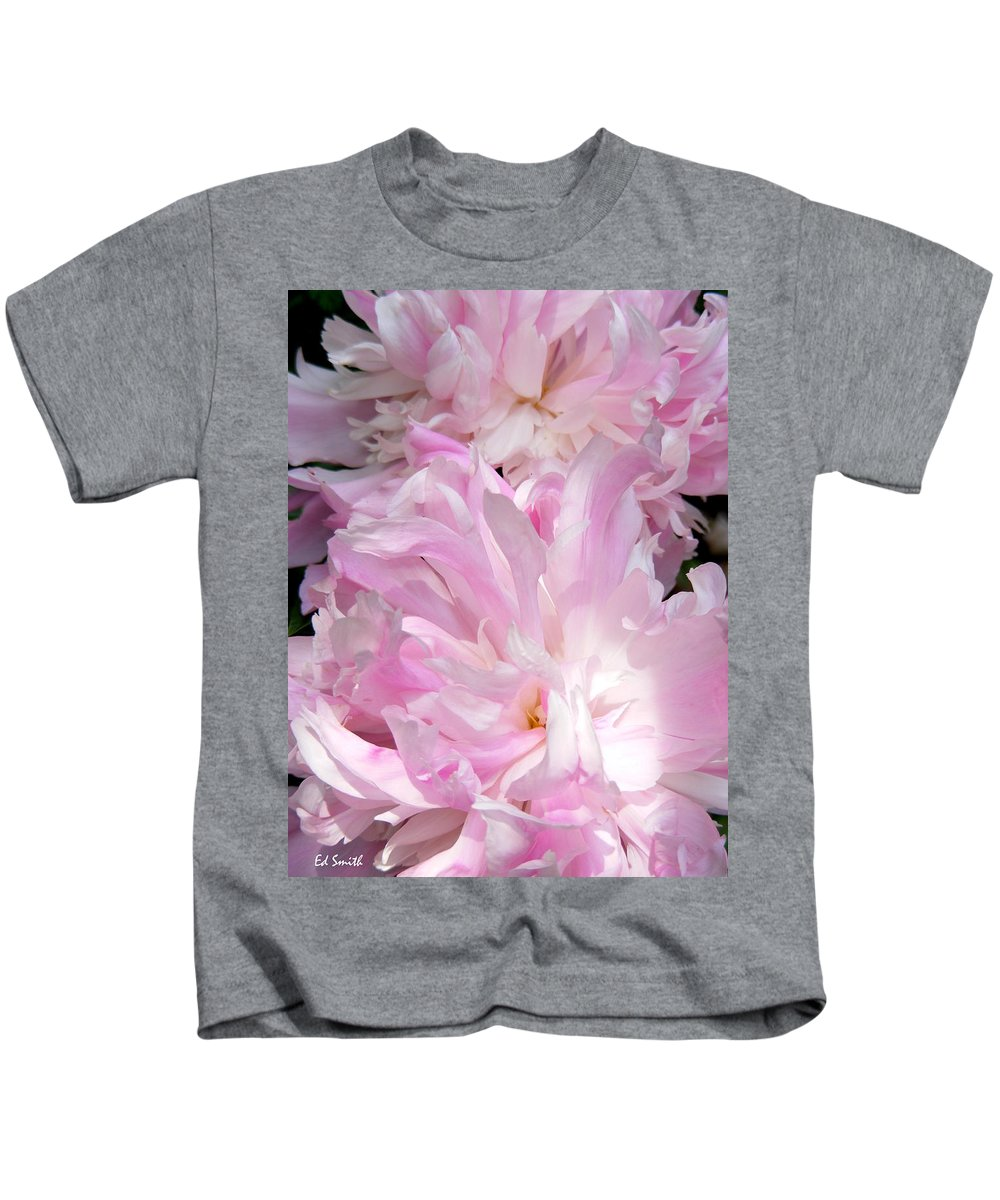 Sun Lit Peonies Kids T-Shirt featuring the photograph Sun Lit Peonies by Edward Smith