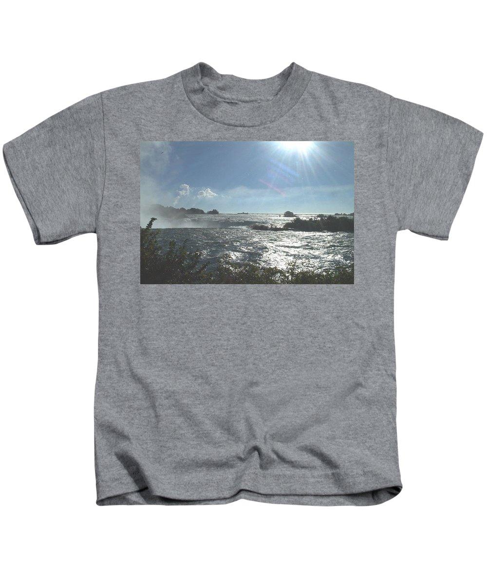 Landscape Kids T-Shirt featuring the photograph Sun On The Falls by Debbie Levene