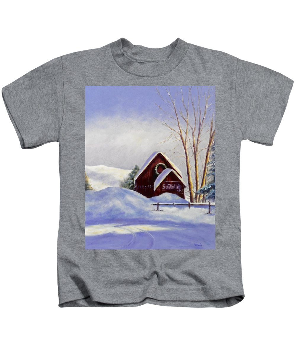 Landscape Kids T-Shirt featuring the painting Sun Valley 2 by Shannon Grissom