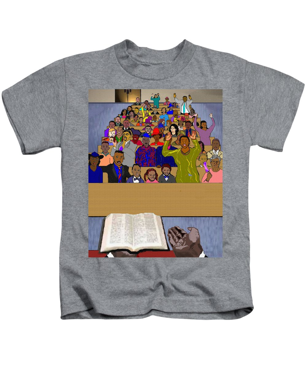 Sermon Kids T-Shirt featuring the painting Sunday Sermon by Pharris Art
