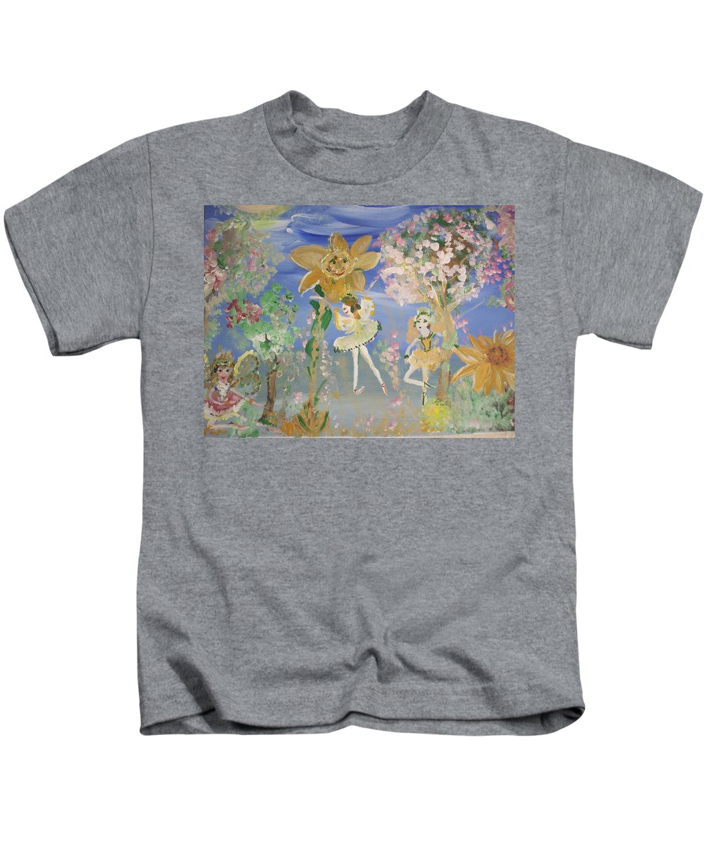Sunflowers Kids T-Shirt featuring the painting Sunflower Fairies by Judith Desrosiers