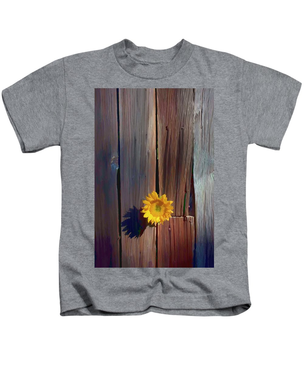 Sunflowers Together Sunflower Kids T-Shirt featuring the photograph Sunflower In Barn Wood by Garry Gay